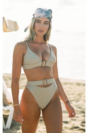 PRETTYLITTLETHING Sand Tortoise Belted High Waisted Bikini Bottom