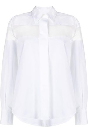 VALENTINO Women Long sleeves - Sheer-panel long-sleeve shirt