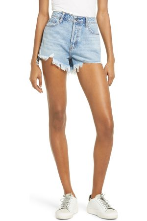 HIDDEN JEANS Women Shorts - Women's High Waist Step Hem Cutoff Denim Mom Shorts
