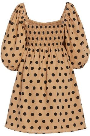 FAITHFULL THE BRAND Dallia Smocked Polka-Dot Linen Mini Dress
