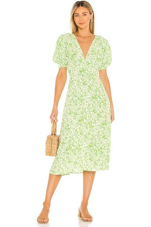 FAITHFULL THE BRAND Marie Louise Midi Dress in Green.