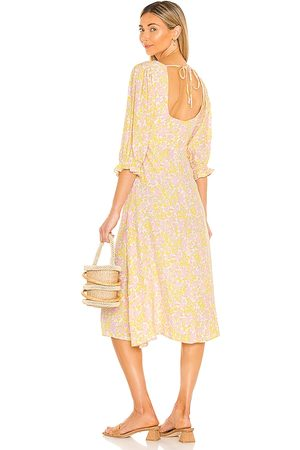 FAITHFULL THE BRAND Clement Midi Dress in Pink,Yellow.